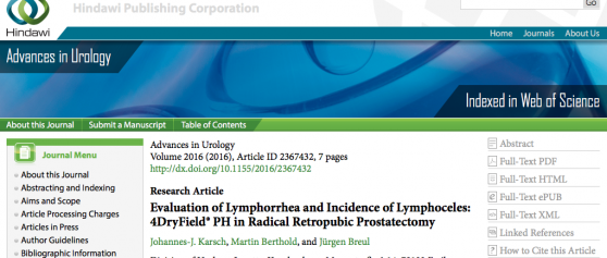 New publication on 4DryField<sup>®</sup> PH in urology