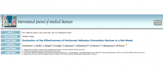 New publication on 4DryField<sup>®</sup> PH in comparison with other adhesion prevention devices