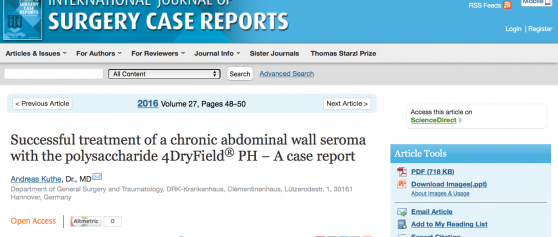 New publication on 4DryField<sup>®</sup> PH in treatment of chronic seroma