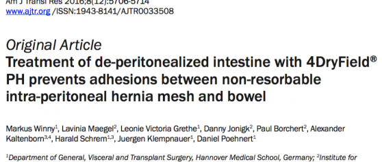 New publication on 4DryField<sup>®</sup> for adhesion prevention in hernia meshes