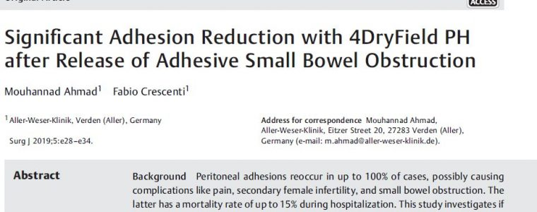 New publication – Significant Adhesion reduction with 4DryField<sup>®</sup>