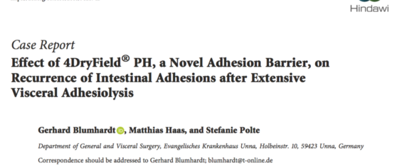 New publication on the efficacy of 4DryField<sup>®</sup> for adhesion prevention in patients with extensive visceral adhesiolysis